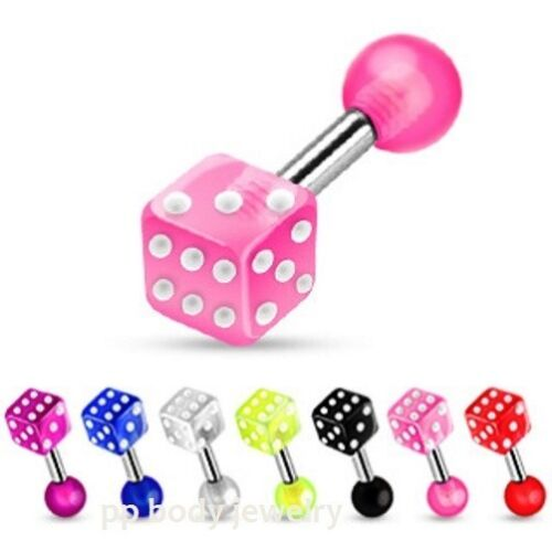 """Surgical Steel with UV Dice Tragus // Cartilage Barbells 6mm 2pcs 16G~1//4/"""""""