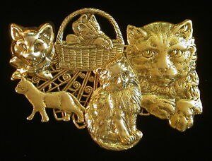 Cats-Kitten-Meow-Mix-of-Cats-Brooch-24-Karat-Gold-Plate