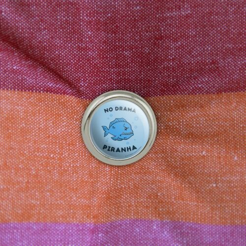 No Drama Piranha Fish Funny Humor Metal Craft Sewing Novelty Buttons Set of 4