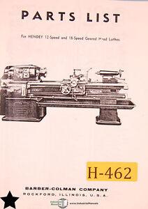 Hendey 12 & 18 Speed, Geared Head Lathe Parts Manual