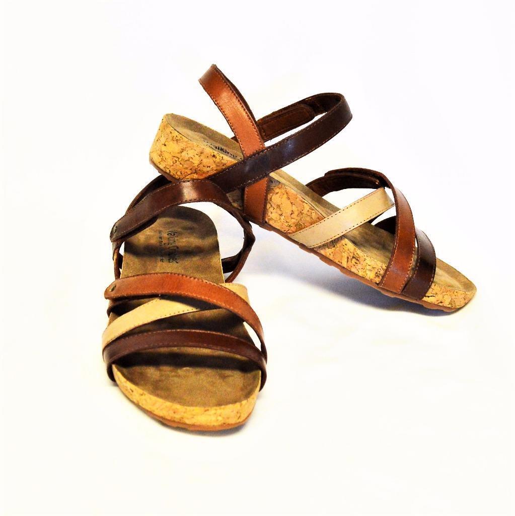 NEU Walking Cradles Pool Damens 7.5M Sandales Leder Adjustable Straps Cork Braun