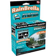 Rust-Oleum Wipe New RAINBRELLA GLASS TREATMENT Repels Rain, Mud, Dirt WINDSHIELD