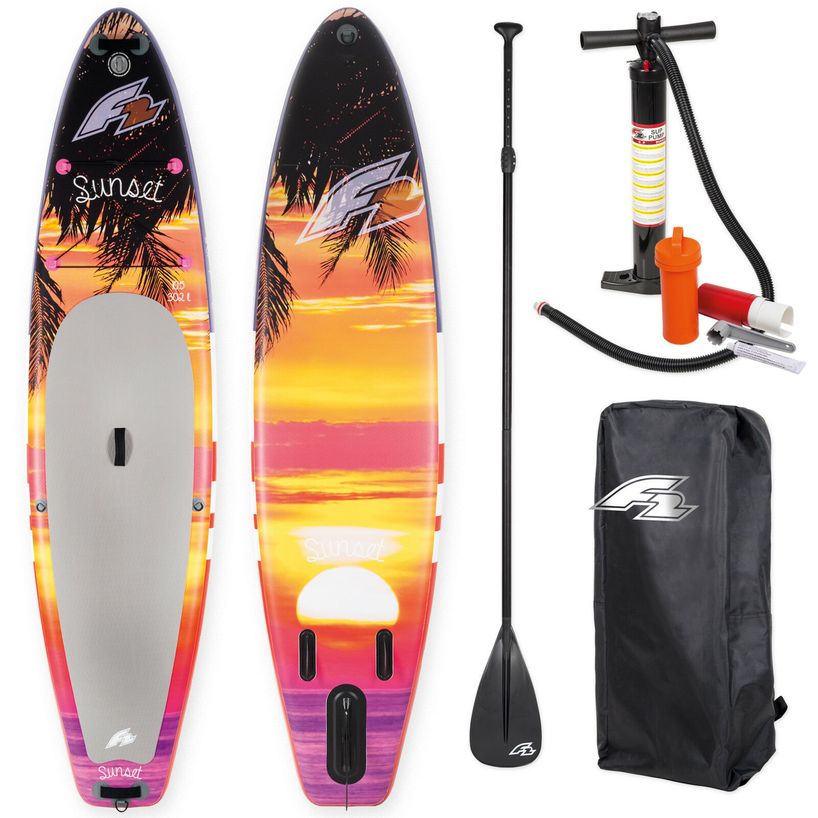 F2 sup Sunset rojo 10,5  2019 stand up paddle board hinchable + remo Bag bomba