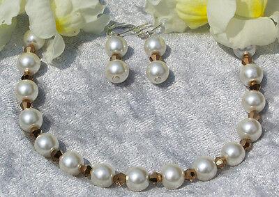 Inteligente Braccialetto + Orecchini Champagne Perle Oro Bicono Ornamento Da Sposa *