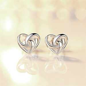 925-Sterling-Silver-Stunning-Swirl-Heart-Stud-Earrings-Womens-Jewellery-Gift-UK