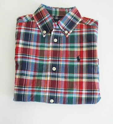 2T Toddlers Polo Ralph Lauren Boys 100/% Cotton Long Sleeve Dress Button Down Shirt Blue Red Plaid