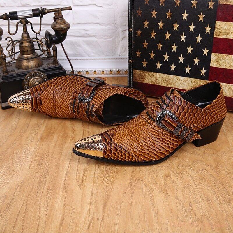 buona qualità US US US Dimensione 5-12 New Pointy Metal Toe Print Leather Dress Office Uomo Oxford scarpe  benvenuto a scegliere