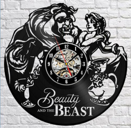 "Beauty And Beast Relógio De Parede Vinil Relógios Cd Decorativo Oco Relógio silencioso 12/"""
