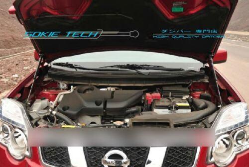 Silver Carbon Strut Hood Shock Damper For Nissan X-Trail SUV T31 Diesel 08-13