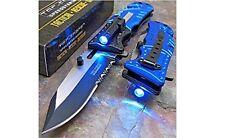 TAC-FORCE Blue POLICE Spring Assisted Open LED Tactical Rescue Pocket Knife -F