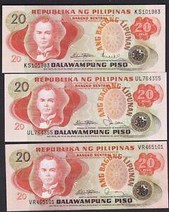 Philippines-ABL-20-pesos-3-Diff-Signature-LICAROS-LAYA-FERNANDEZ-3-note-Unc