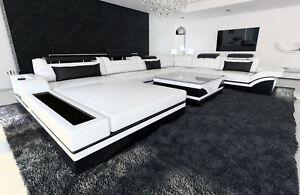 Ledersofa Mega Wohnlandschaft Mezzo Xxl Couch Mit Led Beleuchutung