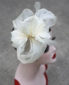 Womens Sinamay Fascinator Cocktail Hat Wedding Church Kentucky Derby T227