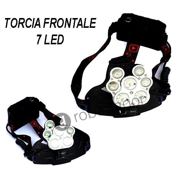 TORCIA LAMPADA LAMPADA LAMPADA FRONTALE 7 LED RICARICABILE PESCA GROTTE FASCIO LUCE BIANCA 3b4f7e