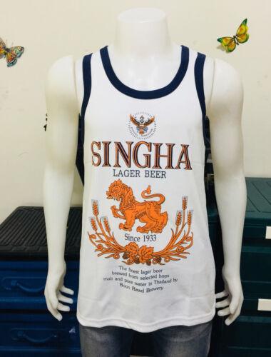 Blanc Singha Beer Homme Sport Running Boxe Vest singlet Débardeurs T-shirt L