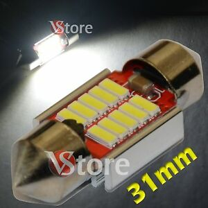 2 LED Festoon 31mm 10SMD 4014 Canbus No Errore Lampade Luci BIANCO Interno Targa