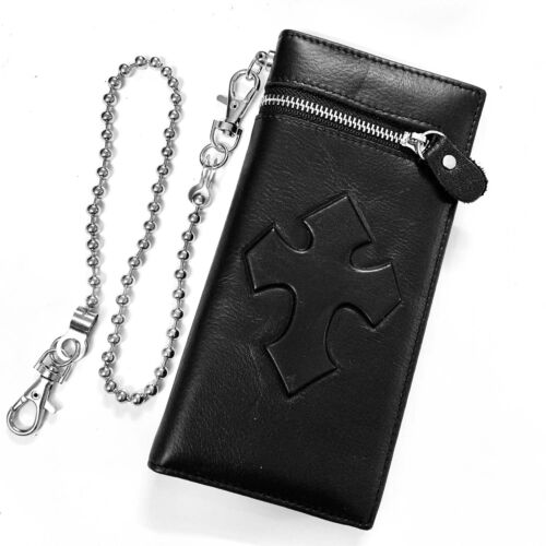 Gothic Cross Biker Men Genuine Leather Long Wallet Purse with Chain
