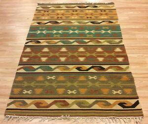 Tribal-Flatweave-Kilim-Geometric-Handwoven-Wool-Green-Brown-Rug-123x184cm-60-OFF