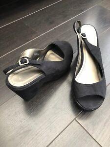 9c676051112f Ladies BATA faux suede black platform block heel sling back shoes ...