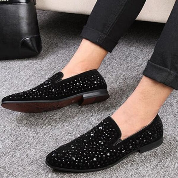 Mens pointy Slip on Loafers Casual Dress formal shoes Bling Bling Black Sequins