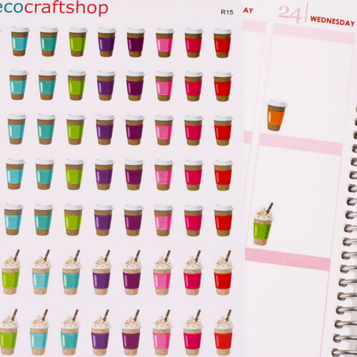 HOT /& ICE FRAPPE COFFEE CUP DRINK TEA TIME Condren EC Life Planner Stickers R15