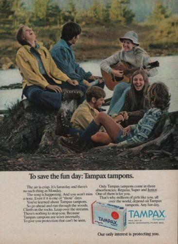 1972 Tampax Tampons Vintage PRINT AD Girls Guys Singing Laughing Guitar River