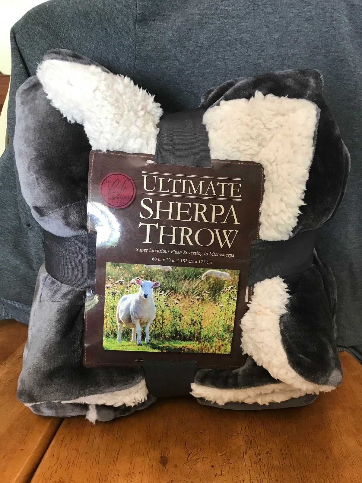 Ultimate Oversized & Reversible Sherpa Throw Blanket made by Life Comfort Grey