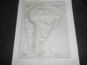 1835 ANCIENT ORIGINAL MAP OF SOUTH AMERICA BY MONIN FREMIN PUBLISHED BY BINET