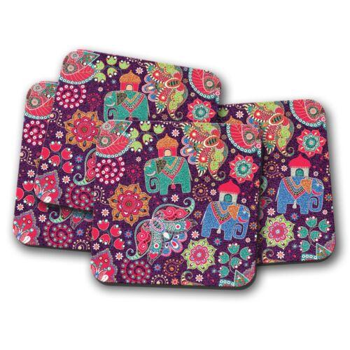 Pretty Indian Elephants Coaster 4 Set Flowery Girls Cute Mum Fun Gift #13139