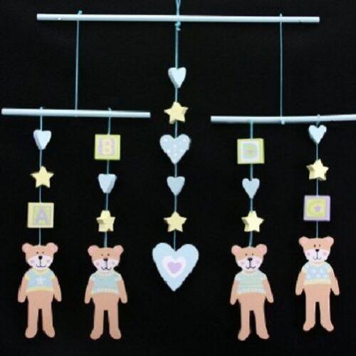 Gisela Graham Wooden Blue Pink Elephant or Teddy Decorative Hanging Mobile Baby