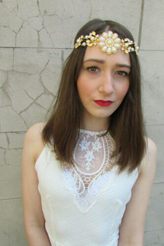Gold Ivory Pearl Vintage Headpiece Dress 1920s Great Gatsby Headband Flapper U28