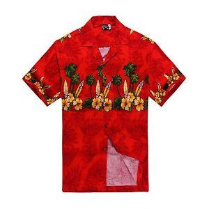 Men-Tropical-Hawaiian-Aloha-Shirt-Cruise-Luau-Beach-Party-Red-Green-Palm-Surf