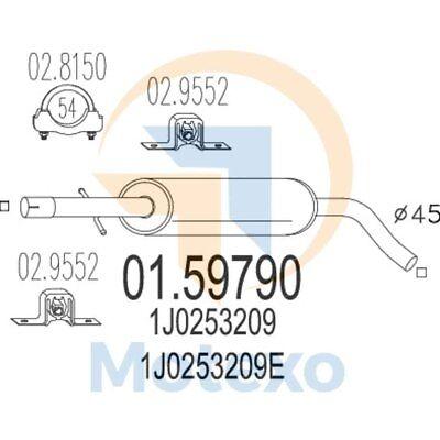 2019 Moda Mts 01.59790 Scarico Seat Leon 1.6i 16v 105bhp 05/01 - 07/04- Corrispondenza A Colori