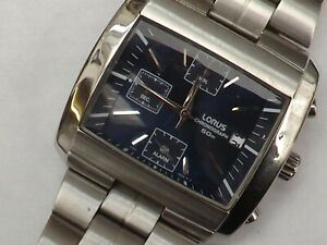 a gents stainless steel cased dark blue dialled lorus chrono style watch
