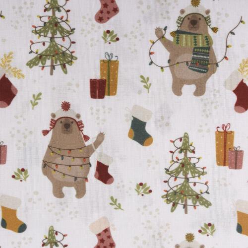Baumwollstoff GOTS Bio Popeline Weihnachten Bär Geschenke weiß bunt 1,50m Breite