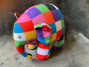 1650-Peluche-doudou-Elephant-Elmer-15-cm-David-McKee-2013-JEMINI-Comme-neuf
