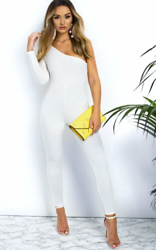 Womens Ladies One Shoulder Fitted Jumpsuit Evening Party Playsuit RRP 25