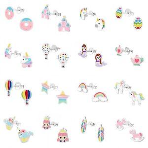 Girls-Kids-925-Sterling-Silver-Stud-Earrings-Unicorn-Rainbow-Princess-Feather