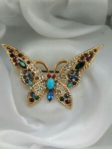 Vintage-Signed-1375-Multi-Coloured-Glass-Butterfly-Brooch-Pin-In-Need-Of-Repair