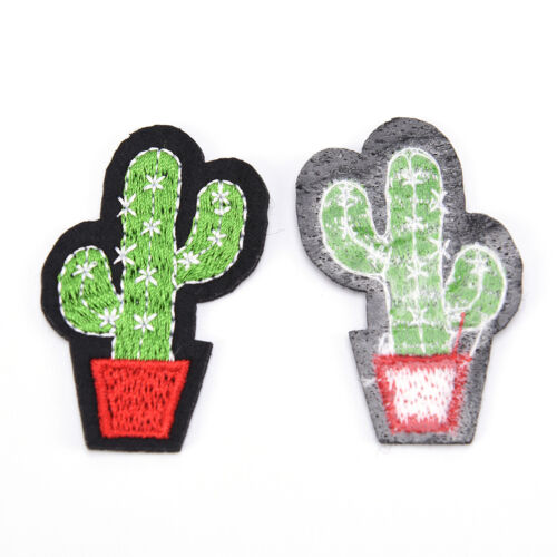 3pcs Cactus Embroidery Fabric Applique Iron//Sew on Patches For Clothing Pip UK