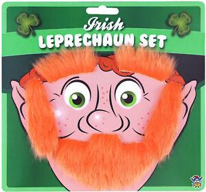 Leprechaun Disguise Kit Orange Irish Sideburns Beard Halloween Costume Accessory