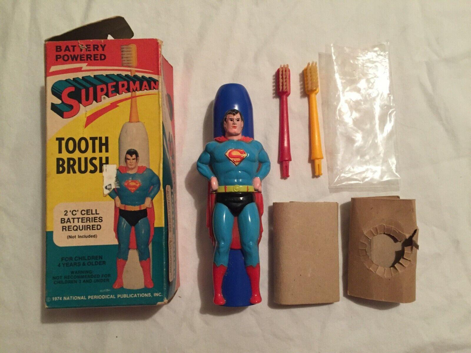 VINTAGE 1974 Rare Janex SUPERMAN TOOTH BRUSH in Original Box DC Comics