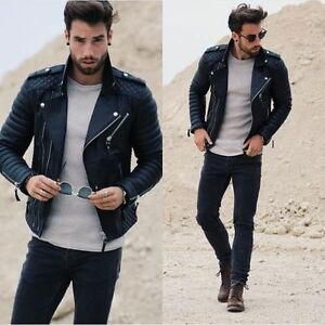 Men's Genuine Lambskin Quilted Leather Motorcycle Jacket Slim fit ...