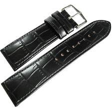 22mm Hirsch Louisiana Mens SHORT Black Alligator-Grain Leather Watch Band Strap