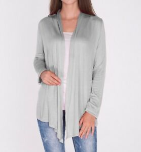 Open-Front-Heather-Gray-Draped-Cardigan-Top-Shirt-Sweater-Career-SML-Plus-Size