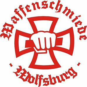 Details Zu Waffenschmiede Wolfsburg Sticker Aufkleber Rot 1 Eisernes Kreuz Iron Cross Eagle