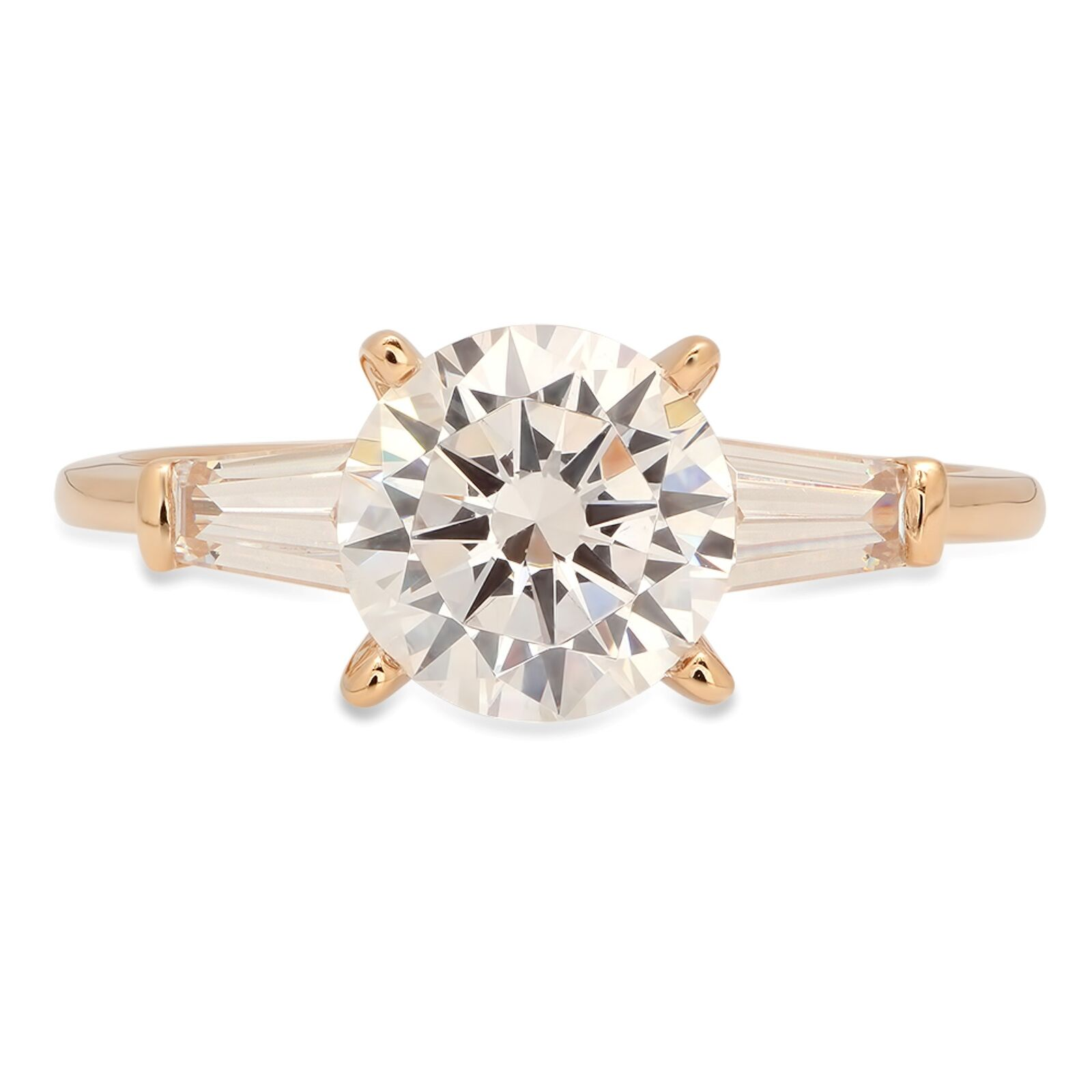 2.1 Round Cut Solitaire 3-Stone Engagement Wedding Bridal Ring 14K Yellow gold