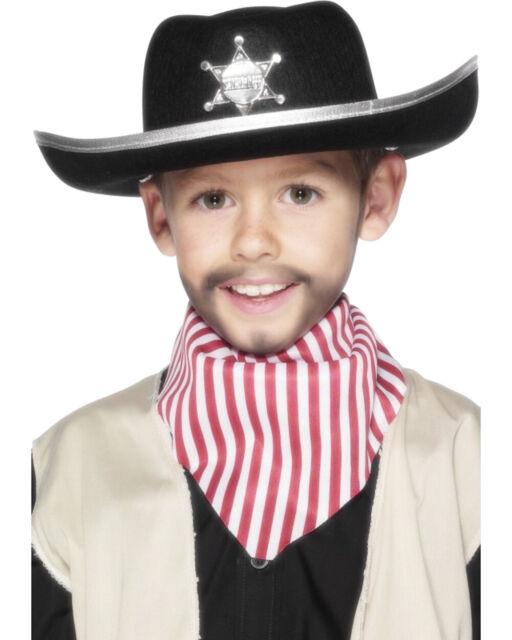Felt Cowboy Hat Black Western Sheriff Wild West Lawman Adult Costume Accessory