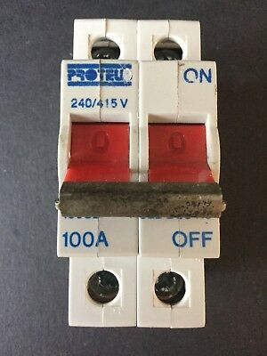 PROTEUS 100S2 100A AC22 DP 100 AMP BS5419:1977 MAIN SWITCH ISOLATOR DISCONNECTOR