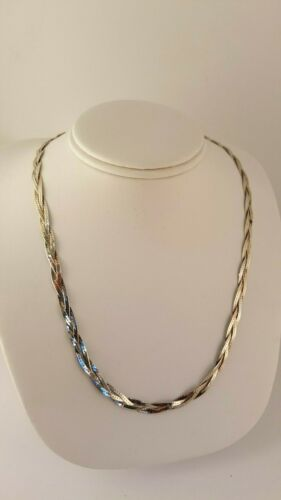 Unisex Italian Sterling Silver 925 Braided Herringbone Necklace 18.25 Inches